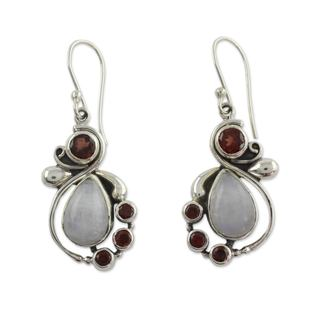 Garnet and Rainbow Moonstone Dangle Earrings, 'Exquisite' (India)