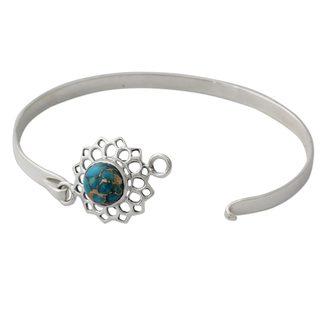 Sterling Silver Bangle Bracelet, 'Star of Gujurat' (India)