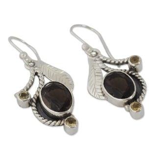 Smoky Quartz and Citrine Dangle Earrings, 'Dew Blossom' (India)
