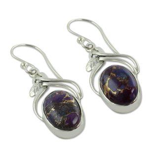 Sterling Silver Dangle Earrings, 'Purple Dew' (India)