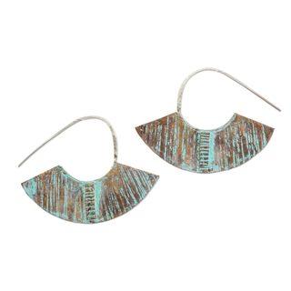 Copper Half-Hoop Earrings, 'Iik Fans' (Guatemala)