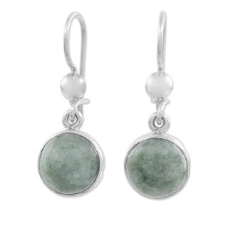 Jade Dangle Earrings, 'Smooth Circles' (Guatemala)
