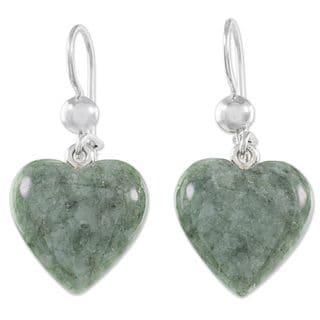 Jade Dangle Earrings, 'Mayan Heart In Green' (Guatemala)