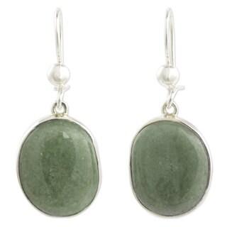 Jade Dangle Earrings, 'Yaxha Light' (Guatemala)