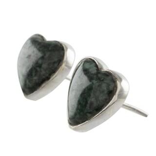 Handmade Dark Green Jade Heart Earrings, 'Love Sacred' (Guatemala)