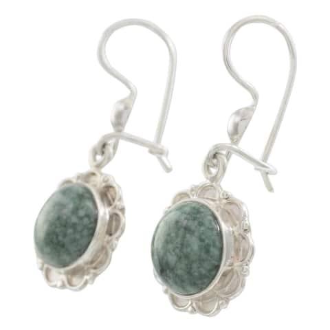 Jade Dangle Earrings, 'Green Forest Princess' (Guatemala)