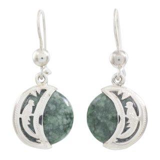 Jade Dangle Earrings, 'Quetzal Eclipse' (Guatemala)