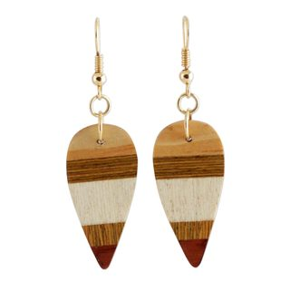 Wood Dangle Earrings, 'Woodland Leaves' (Brazil)