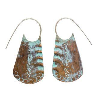 Copper Half-Hoop Earrings, 'Sipakapense Vases' (Guatemala)