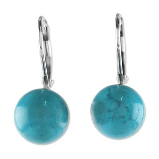 Sterling Silver Drop Earrings, 'Pure Blue' (Thailand)