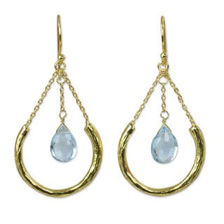 Gold Plated Blue Topaz Dangle Earrings, 'Smiling Moons' (Thailand)