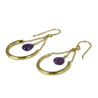 Gold Plated Amethyst Dangle Earrings, 'Smiling Moons' (Thailand)