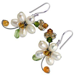 Pearl and Peridot Flower Earrings, 'Frangipani Glam' (Thailand)