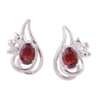 Rhodium Plated Garnet Button Earrings, 'Classic Paisley' (India)