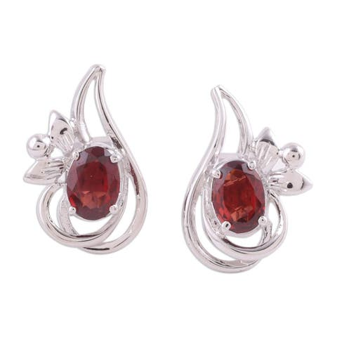 Handmade Rhodium Plated Garnet Button Earrings, 'Classic Paisley' (India)
