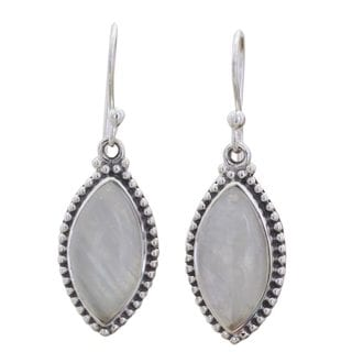 Rainbow Moonstone Dangle Earrings, 'Rainbow Windows' (India)