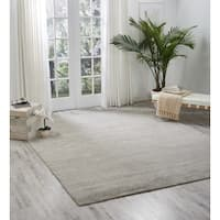 Nourison Ocean Shell Beige Striped Chenille Bamboo Rayon Contemporary Area Rug (8'6 x 11'6) - 8'6 x 11'6