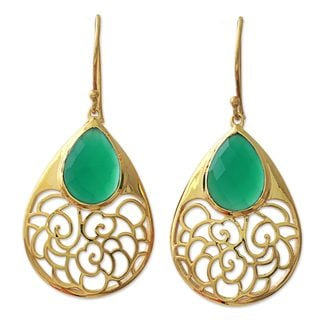 Gold Plated Onyx Dangle Earrings, 'Golden Vines In Green' (India)