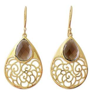 Gold Plated Smoky Quartz Dangle Earrings, 'Golden Vines In Mist' (India)