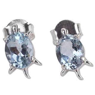 Blue Topaz Button Earrings, 'Crystal Turtle' (India)