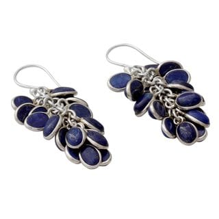 Lapis Lazuli Cluster Earrings, 'Blue Intuition' (India)