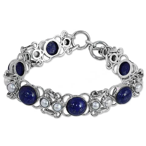 "Cultured Pearl and Lapis Lazuli Link Bracelet, 'Twilight Garden' (India) - 7'6"" x 9'6"""