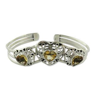 Citrine Cuff Bracelet, 'Golden Hearts' (India)