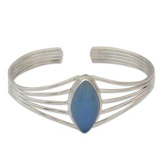 Chalcedony Cuff Bracelet, 'Clear Sky' (India)