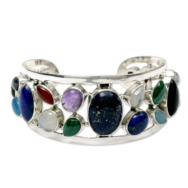 "Lapis Lazuli and Pearl Cuff Bracelet, 'Colors of Life' (India) - 7'6"" x 9'6"""
