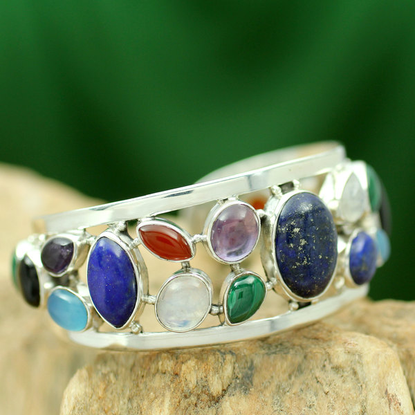"""Lapis Lazuli and Pearl Cuff Bracelet, 'Colors of Life' (India) - 7'6"""" x 9'6"""""""
