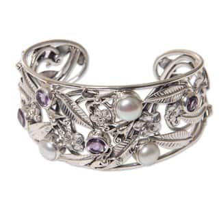 Amethyst and Cultured Pearl Cuff Bracelet, 'Temple Garden' (Indonesia)|https://ak1.ostkcdn.com/images/products/16178735/P22552540.jpg?impolicy=medium