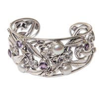 Amethyst and Cultured Pearl Cuff Bracelet, 'Temple Garden' (Indonesia)