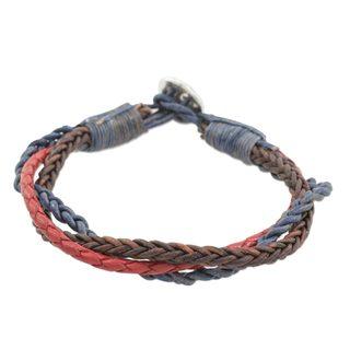 Leather and Fine Silver Braided Wristband Bracelet, 'Walks of Life' (Guatemala)