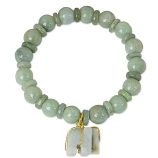 Jade Beaded Stretch Bracelet, 'Jade Elephant' (Thailand)