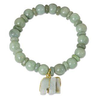 Jade Beaded Stretch Bracelet, 'Jade Elephant' (Thailand)
