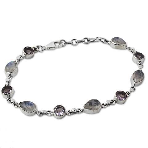 "Amethyst and Rainbow Moonstone Link Bracelet, 'Misty Lilac' (India) - 7'6"" x 9'6"""