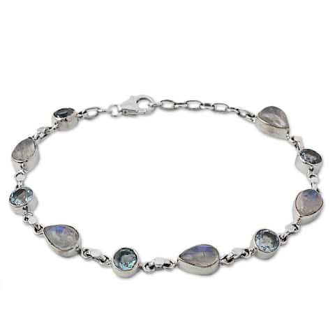 "Rainbow Moonstone and Blue Topaz Link Bracelet, 'Misty Sky' (India) - 7'6"" x 9'6"""