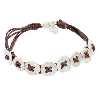 Fine Silver Wristband Bracelet, 'Friendship Buttons In Brown' (Guatemala)