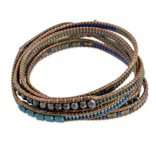Glass Beaded Wrap Bracelet, 'Sweet River' (Guatemala)