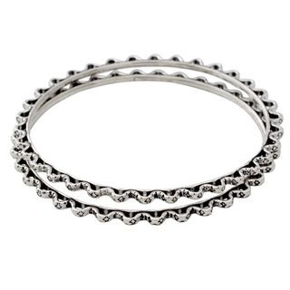 Sterling Silver Bangle Bracelets, 'Zigzag Path' (Pair) (India)