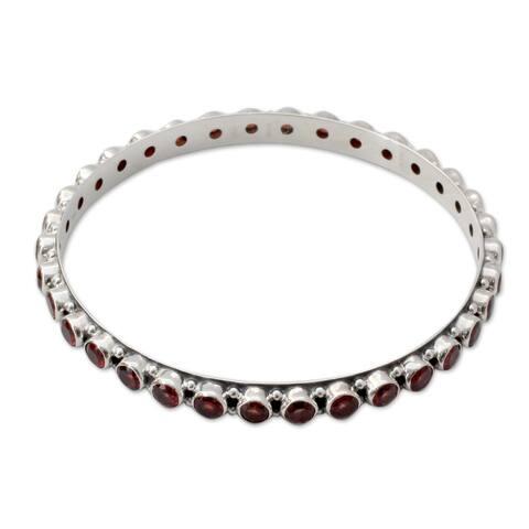"""Garnet Bangle Bracelet, 'Love'S Energy' (India) - 7'6"""" x 9'6"""""""