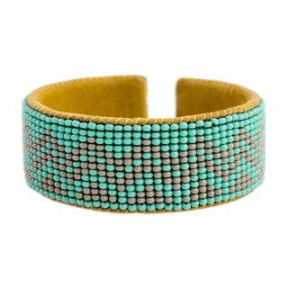 Glass Beaded Cuff Bracelet, 'Volcano Rain' (Guatemala)
