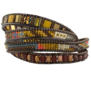 Beaded Wristband Bracelet, 'Fertile Lands' (Guatemala)