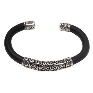 Sterling Silver Cuff Bracelet, 'Night Majesty' (Indonesia)
