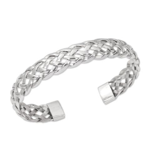 "Sterling Silver Cuff Bracelet, 'Celuk Braid' (Indonesia) - 7'6"" x 9'6"""