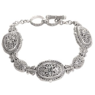 Sterling Silver Link Bracelet, 'Lotus Chain' (Indonesia)