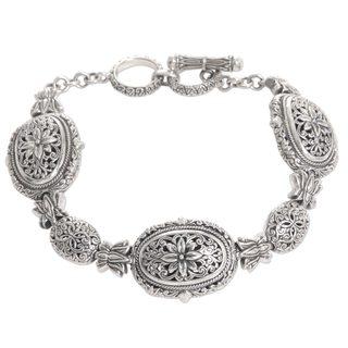 Handmade Sterling Silver Link Bracelet, 'Lotus Chain' (Indonesia)