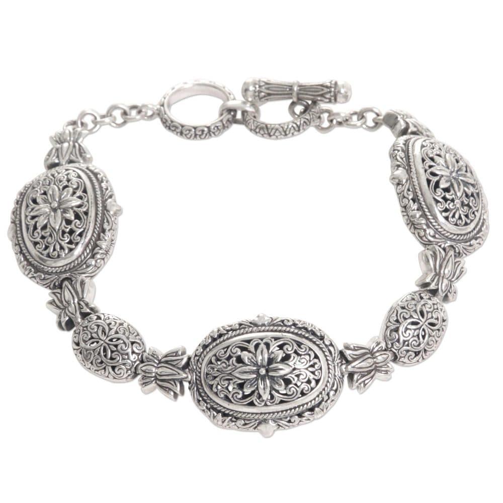 Sterling Silver Link Bracelet, 'Lotus Chain' (Indonesia) – 7'6″ x 9'6″ (Bracelet)