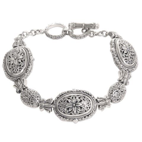 "Sterling Silver Link Bracelet, 'Lotus Chain' (Indonesia) - 7'6"" x 9'6"""