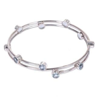 """Link to Blue Topaz Bangle Bracelet, 'Orchid Twist in Blue' (Indonesia) - 7'6"""" x 9'6"""" Similar Items in Fashion Jewelry Store"""